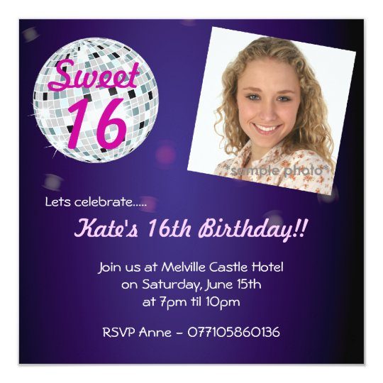 Sweet Sixteen 16 Disco Ball Party Invitation