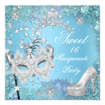 Sweet  Sixteen 16 Masquerade Party Blue Tiara Shoe 13 Cm X 13 Cm Square Invitation Card