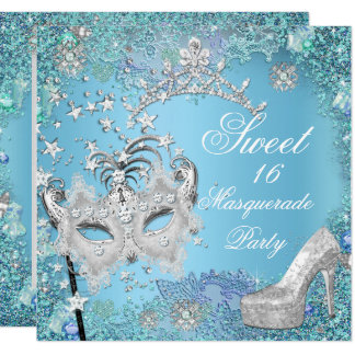 Sweet  Sixteen 16 Masquerade Party Blue Tiara Shoe Card