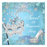 Sweet  Sixteen 16 Masquerade Party Blue Tiara Shoe Personalised Invite