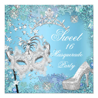 Sweet  Sixteen 16 Masquerade Party Blue Tiara Shoe 5.25x5.25 Square Paper Invitation Card