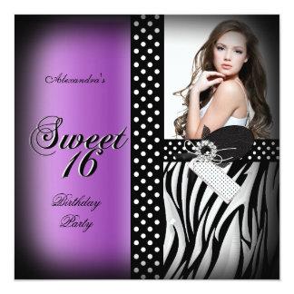 Sweet Sixteen 16 Party Purple Zebra Black Spot Card