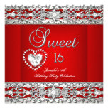 Sweet Sixteen 16 Party Red Silver Diamond Custom Invitations