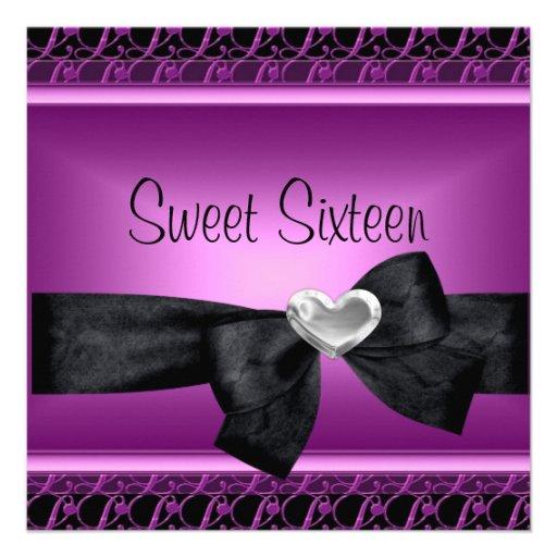 Sweet Sixteen 16 Party Silver Heart Purple Black Invitations