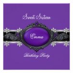 Sweet Sixteen 16 Party Silver Purple Black Jewel Personalized Announcement
