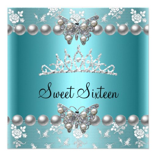 Sweet Sixteen 16 Party Teal Blue Pearl Butterfly Custom Invite