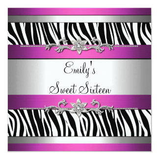 Sweet Sixteen 16 Pink Black White Zebra Silver 13 Cm X 13 Cm Square Invitation Card