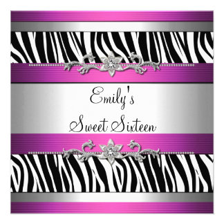Sweet Sixteen 16 Pink Black White Zebra Silver Invitations