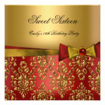 Sweet Sixteen 16 Red Black Gold Damask Bow Personalized Invitations