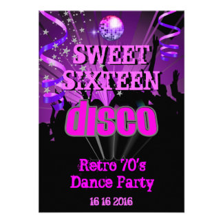 Sweet Sixteen 16 Retro 70 s Disco Dance Party Custom Announcements