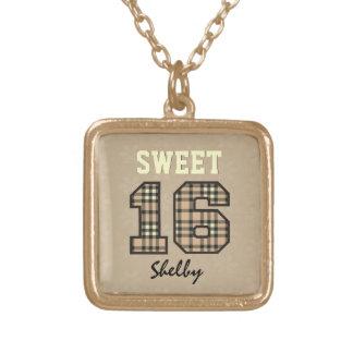Sweet Sixteen 16 Tan PLAID Custom Name V36 Custom Jewelry