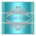 Sweet Sixteen 16 Teal Blue Tiara Pearl Silver Personalized Announcements