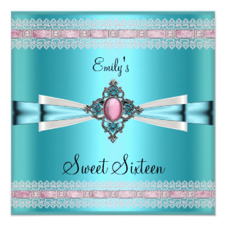 Sweet Sixteen 16 White Teal Blue Pink 13 Cm X 13 Cm Square Invitation Card
