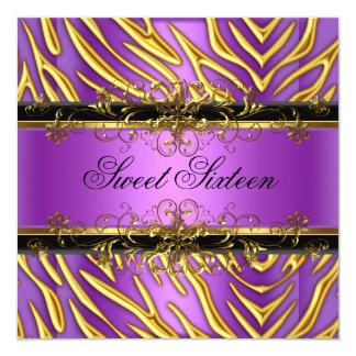 Sweet Sixteen 16 Zebra Purple Gold Black Custom Invitation