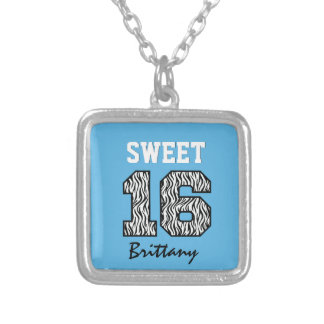 Sweet Sixteen 16 Zebra with BLUE Custom Name V04 Necklaces