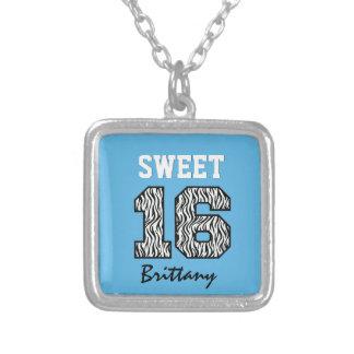 Sweet Sixteen 16 Zebra with BLUE Custom Name V04 Necklaces