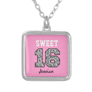 Sweet Sixteen 16 Zebra with Pink Custom Name V01 Personalized Necklace
