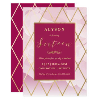 Sweet Sixteen, 16th Birthday Invitation Gold Girly
