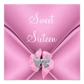 Sweet Sixteen 16th Birthday Party Pretty Pink Bow Card