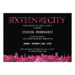Sweet Sixteen and The City Sweet 16 Birthday Party Personalized Invitations