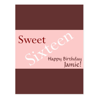 Sweet Sixteen Background Customise Postcard