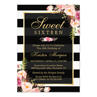 Sweet Sixteen Beautiful Floral Black White Stripes Card