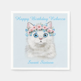 Sweet Sixteen Birthday Cute Kitten Disposable Serviette