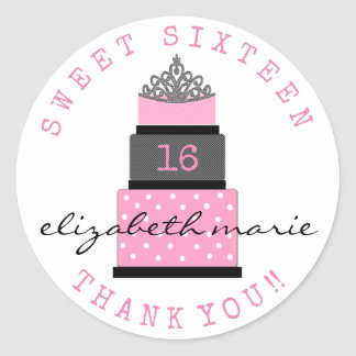 Sweet Sixteen Birthday Guest Favor Round Sticker