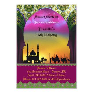 Sweet Sixteen Birthday invitation, 16th,Arabian, 13 Cm X 18 Cm Invitation Card