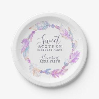 Sweet sixteen birthday party boho art plate