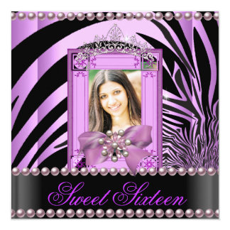 Sweet Sixteen Birthday Party Zebra Lilac Pearl 13 Cm X 13 Cm Square Invitation Card