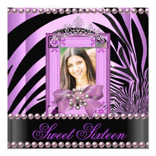 Sweet Sixteen Birthday Party Zebra Lilac Pearl Invites