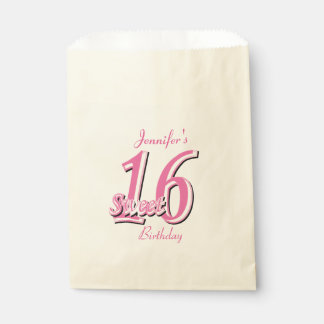 Sweet Sixteen Birthday   Pink Favour Bags