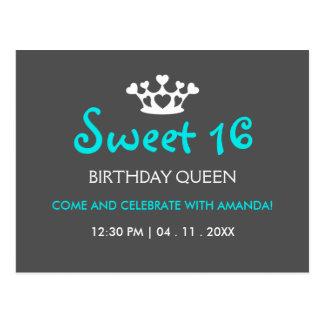 Sweet Sixteen Birthday Queen - Blue Gray Invite Postcard
