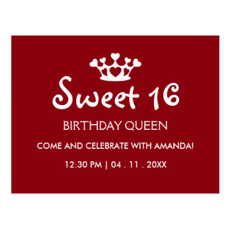 Sweet Sixteen Birthday Queen - Burgundy Invite Postcard