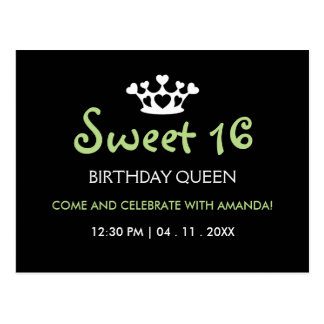 Sweet Sixteen Birthday Queen - Green Black Invite Postcard