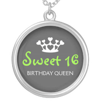 Sweet Sixteen Birthday Queen - Lime Green and Gray Round Pendant Necklace