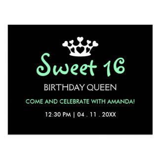 Sweet Sixteen Birthday Queen - Mint Black Invite Postcard
