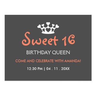 Sweet Sixteen Birthday Queen - Pink Gray Invite Postcard