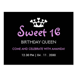 Sweet Sixteen Birthday Queen - Purple Black Invite Postcard