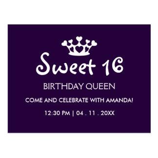 Sweet Sixteen Birthday Queen - Purple White Invite Postcard