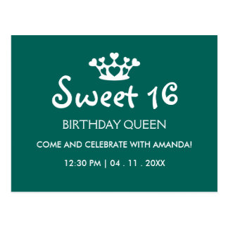 Sweet Sixteen Birthday Queen - Teal White Invite Postcard