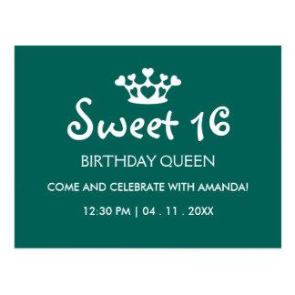 Sweet Sixteen Birthday Queen - Teal White Invite Postcard