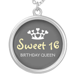 Sweet Sixteen Birthday Queen - Yellow and Gray Round Pendant Necklace