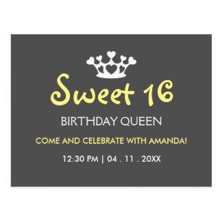 Sweet Sixteen Birthday Queen - Yellow Gray Invite Postcard