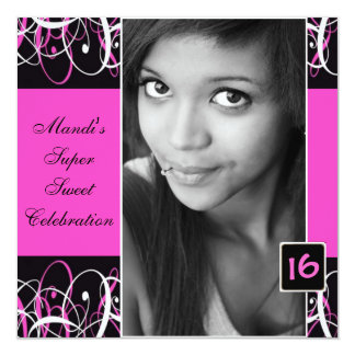 "Sweet Sixteen Black and Pink Swirl Birthday Invite 5.25"" Square Invitation Card"