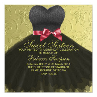 Sweet Sixteen Black Dress Birthday Invitation