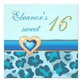 Sweet sixteen blue leopard jewel heart birthday 13 cm x 13 cm square invitation card