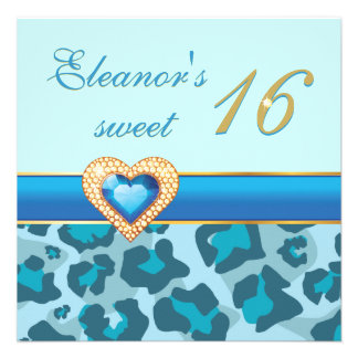 Sweet sixteen blue leopard jewel heart birthday custom invitation