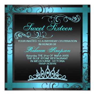 Sweet Sixteen Blue Tiara Birthday Invitation